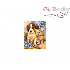 Diamond Embroidery Painting Kit Best friends, Article: DE6042 Collection D'Art - size 27x38 cm.