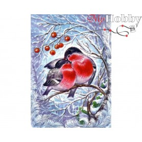 Diamond Embroidery Painting Kit Bullfinches, Article: DE6014 Collection D'Art - size 27x38 cm.