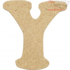Letter, Y, H: 4 cm, thickness 2,5 mm, MDF, 10pcs