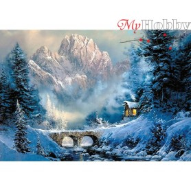 Diamond Embroidery Painting Kit At the foot of the mountain, Article: DE5839 Collection D'Art - size 70x48 cm.