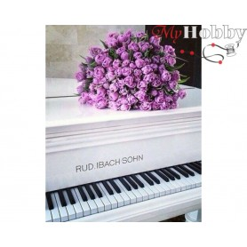 Diamond Embroidery Painting Kit Roses on a piano, Article: DE5815 Collection D'Art - size 48x38 cm.