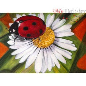 Diamond Embroidery Painting Kit Chamomile and ladybug, Article: DE4649 Collection D'Art - size 27x19 cm.