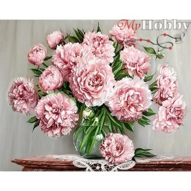 Diamond Embroidery Painting Kit Garden peonies, Article: DE4642 Collection D'Art - size 48x38 cm.