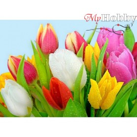 Diamond Embroidery Painting Kit Dew on tulips, Article: DE4628 Collection D'Art - size 27x38 cm.
