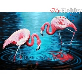 Diamond Embroidery Painting Kit Flamingos on the lake, Article: DE3442 Collection D'Art - size 27x38 cm.
