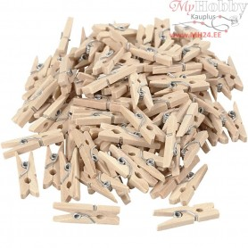 Clothes Pegs, L: 25 mm, W: 3 mm, birch, 100pcs