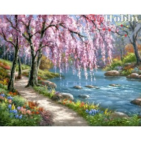 Diamond Embroidery Painting Kit Spring, Article: DE1003 Collection D'Art - size 48x38 cm.