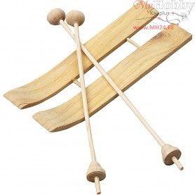 Ski with Sticks, size 11x3,8 cm, pine, 3pairs