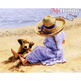 Diamond Embroidery Painting Kit Summer day, Article: DE852 Collection D'Art - size 48x38 cm.