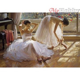 Diamond Embroidery Painting Kit Two ballerinas, Article: DE802 Collection D'Art - size 70x48 cm.