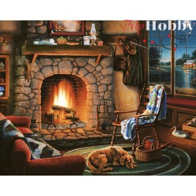 Diamond Embroidery Painting Kit By the fireside, Article: DE637 Collection D'Art - size 48x38 cm.