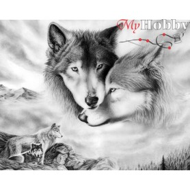 Diamond Embroidery Painting Kit Wolfish love, Article: DE410 Collection D'Art - size 48x38 cm.