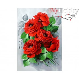 Diamond Embroidery Painting Kit Elegant roses, Article: DE309 Collection D'Art - size 27x38 cm.