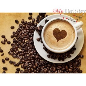 Diamond Embroidery Painting Kit Coffee for her, Article: DE225 Collection D'Art - size 27x19 cm.