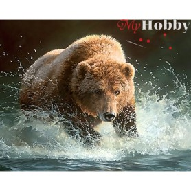 Diamond Embroidery Painting Kit Bear fishing, Article: DE086 Collection D'Art - size 48x38 cm.