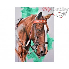 Diamond Embroidery Painting Kit Horse`s head, Article: DE080 Collection D'Art - size 27x38 cm.