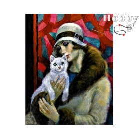 Diamond Embroidery Painting Kit Lady with a cat, Article: DE073 Collection D'Art - size 48x38 cm.