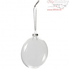 Glass Ornaments, D: 8 cm, 6pcs, thickness 2,1 cm