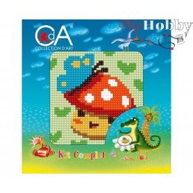 Cross Stitch Kit Stamped Full Range of Embroidery Kits 10x10 cm.  Collection D'Art - 1054K