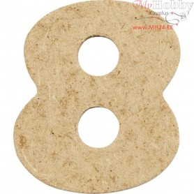 Number, 8, H: 4 cm, thickness 2,5 mm, MDF, 10pcs