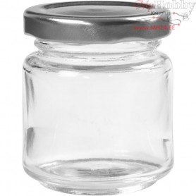Storage Glass Jar, H: 6,5 cm, D: 5,7 cm, transparent, 12pcs, 100 ml