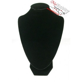 Jewelry necklace display bust, dimensions: 17x25cm, black velvet, wood and cardboard, 1pc