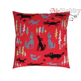 "Cross Stitch Cushion Kit ""Wolves and spruces"" RTO, CU062 - size 40x40 cm"