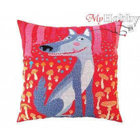 "Cross Stitch Cushion Kit ""Wolves and spruces"" RTO, CU060 - size 40x40 cm"