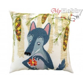 "Cross Stitch Cushion Kit ""Wolves and spruces"" RTO, CU061 - size 40x40 cm"