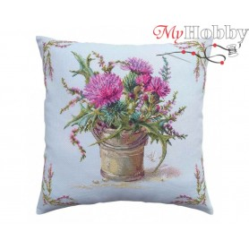 "Cross Stitch Cushion Kit ""Thistle and heather"" RTO, CU058 - size 40x40 cm"