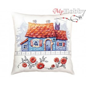 "Cross Stitch Cushion Kit ""Lodge in the forest"" RTO, CU051 - size 40x40 cm"
