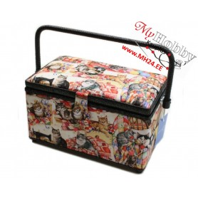 """RTO Toolbox / Sewing basket """"Cats"""" 4009-RT-16, size 27x17.5x16.5cm, 1pc"""