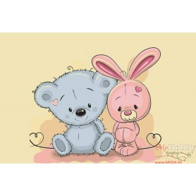 Paint by numbers ' Little Bear and Little Bunny' Size 20x30cm DIY art. by Tsvetnoy - MC1078e