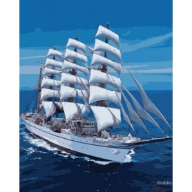 Paint by numbers ' Snow-white Sailboat' Size 40x50cm DIY art. by Tsvetnoy - MG3240e