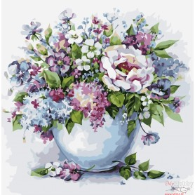 Paint by numbers ' Delicate flowers in a white vase' Size 40x50cm DIY art. by Tsvetnoy - MG2102e