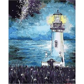 Paint by numbers ' Lighthouse in the Night' Size 40x50cm DIY art. by Tsvetnoy - MG2093e