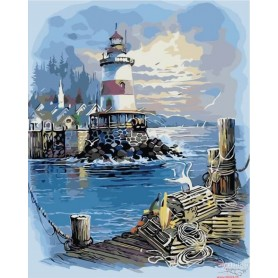 Paint by numbers ' Pier at the Lighthouse' Size 40x50cm DIY art. by Tsvetnoy - MG2099e