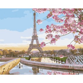 Paint by numbers ' Paris in Blossom' Size 40x50cm DIY art. by Tsvetnoy - MG2133e