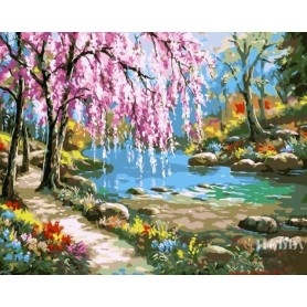 Paint by numbers ' Sakura by the River' Size 40x50cm DIY art. by Tsvetnoy - MG6099e