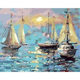 Paint by numbers ' Quiet Harbour' Size 40x50cm DIY art. by Tsvetnoy - MG2092e