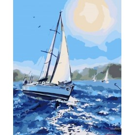 Paint by numbers ' Under the white sail' Size 40x50cm DIY art. by Tsvetnoy - MG2085e