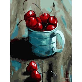 Paint by numbers ' Cherry in a mug' Size 30x40cm DIY art. by Tsvetnoy - ME1057e