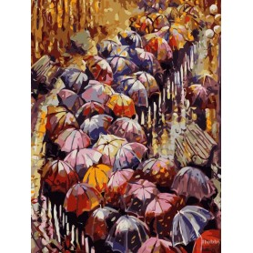 Paint by numbers ' Autumn Umbrellas' Size 40x50cm DIY art. by Tsvetnoy - MG2116e