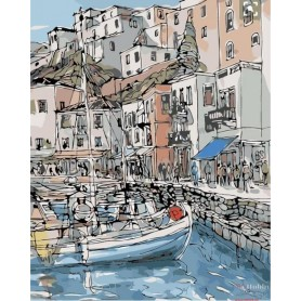 Paint by numbers ' Marina in a Town' Size 40x50cm DIY art. by Tsvetnoy - MG2094e