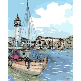 Paint by numbers ' Coastal Town' Size 40x50cm DIY art. by Tsvetnoy - MG2097e