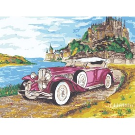 Paint by numbers ' Cadillac on the background of the castle' Size 30x40cm DIY art. by Tsvetnoy - ME1054e