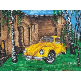 Paint by numbers ' Yellow car among birches' Size 30x40cm DIY art. by Tsvetnoy - ME1056e