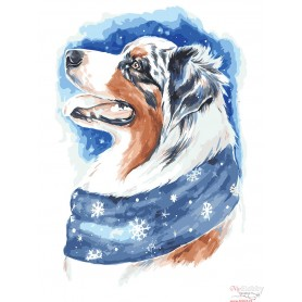 Paint by numbers ' Winter Dog' Size 30x40cm DIY art. by Tsvetnoy - ME1113e