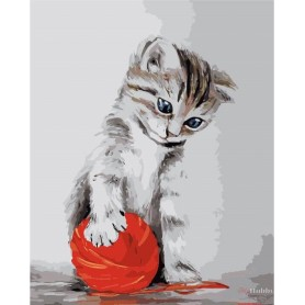 Paint by numbers ' Kitten with a red clew' Size 40x50cm DIY art. by Tsvetnoy - MG2075e