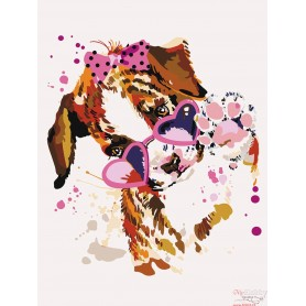 Paint by numbers ' Puppy with Pink Glasses' Size 30x40cm DIY art. by Tsvetnoy - ME1117e